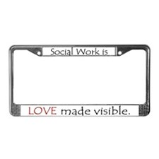 Social Work Is Love License Plate Frame