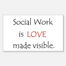 Social Work is Love Rectangle Decal