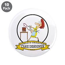 "WORLDS GREATEST CAKE DESIGNER 3.5"" Button (10 pack"