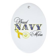 Proud Navy Mom Ornament (Oval)