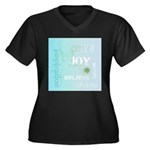 Joy Rising Aqua Sky Women's Plus Size V-Neck Dark