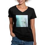 Joy Rising Aqua Sky Women's V-Neck Dark T-Shirt