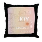 Joy Rising Pink and Peach Throw Pillow
