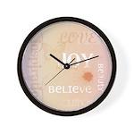 Joy Rising Pink and Peach Wall Clock