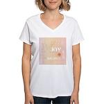 Joy Rising Pink and Peach Women's V-Neck T-Shirt