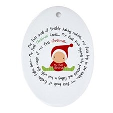Spiral First Christmas Boy Ornament (Oval)