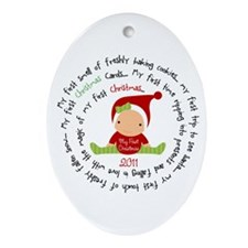 Spiral First Christmas Girl Ornament (Oval)