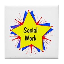 Social Work Starburst Tile Coaster