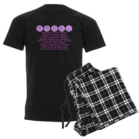 Rock, Paper, Scissors, Lizard Men's Dark Pajamas