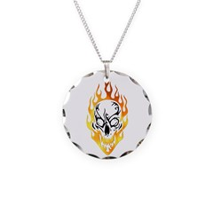 Skull and Flames Necklace