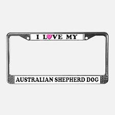 I Love Australian Shepherd Dog License Plate Frame