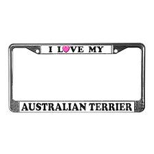 I Love My Australian Terrier License Plate Frame