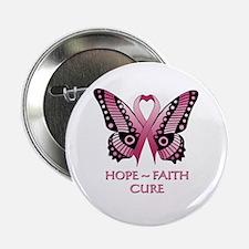"""Hope, Faith, Cure 2.25"""" Button"""