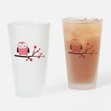 Pink Owl on Cherry Blossoms Drinking Glass