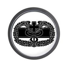 Combat Medical Badge B-W Wall Clock