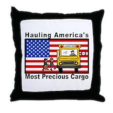 School Bus Precious Cargo Throw Pillow