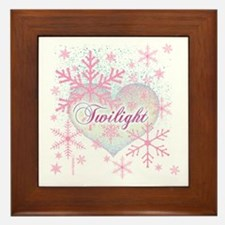 Twilight Pink Snowflakes by Twibaby Framed Tile