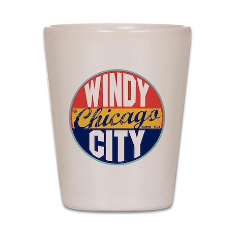 Chicago Vintage Label Shot Glass