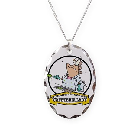 WORLDS GREATEST CAFETERIA LADY Necklace Oval Charm