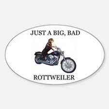 Rottweiler on Motorcycle Sticker (Oval)