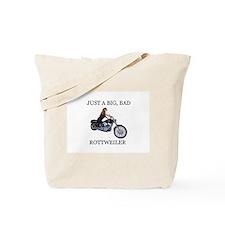 Rottweiler on Motorcycle Tote Bag