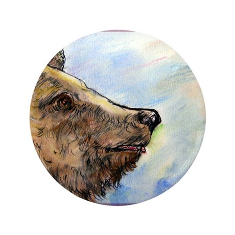 "Bear, wildlife art, 3.5"" Button"