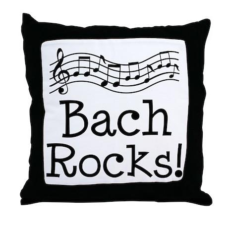 Bach Rocks Music Throw Pillow