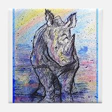 Rhino, wildlife art, Tile Coaster
