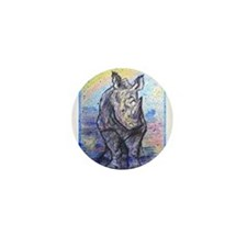 Rhino, wildlife art, Mini Button