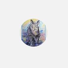 Rhino, wildlife art, Mini Button