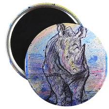"""Rhino, wildlife art, 2.25"""" Magnet (10 pack)"""