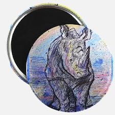 Rhino, wildlife art, Magnet