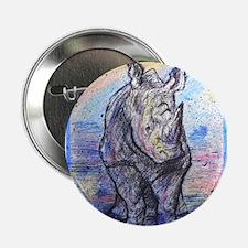 "Rhino, wildlife art, 2.25"" Button"