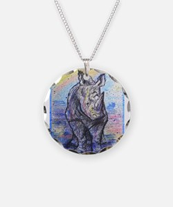 Rhino, wildlife art, Necklace Circle Charm