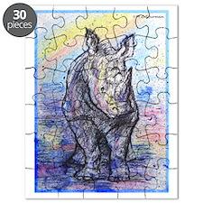 Rhino, wildlife art, Puzzle