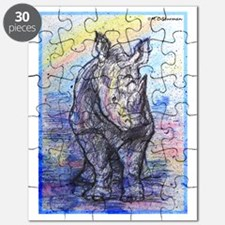 Rhino, wildlife art, Puzzle