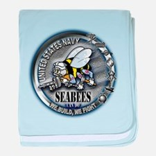 USN Seabees We Build We Fight baby blanket