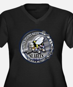 USN Seabees We Build We Fight Women's Plus Size V-