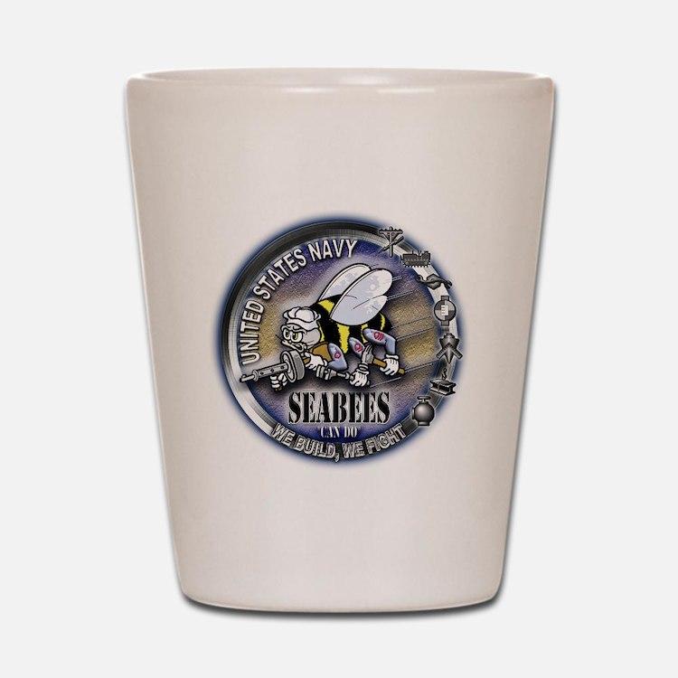 USN Seabees We Build We Fight Shot Glass
