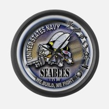 USN Seabees We Build We Fight Large Wall Clock