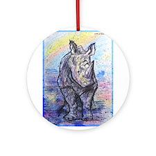 Rhino, wildlife art, Ornament (Round)