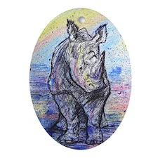 Rhino, wildlife art, Ornament (Oval)