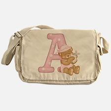 Teddy Alphabet A Pink Messenger Bag