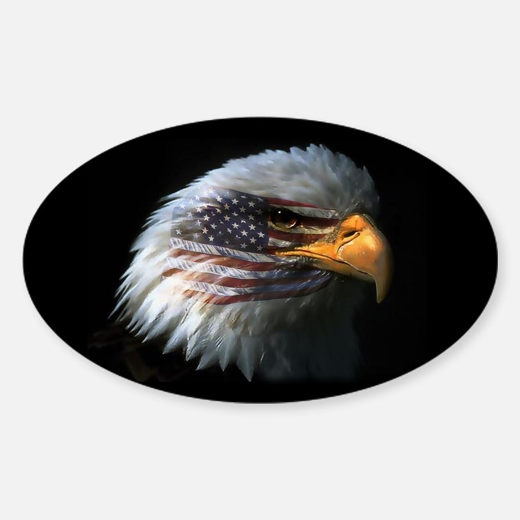 American Flag Eagle Oval Decal