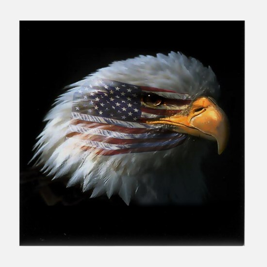 American Flag Eagle Tile Coaster