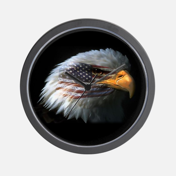 American Flag Eagle Wall Clock