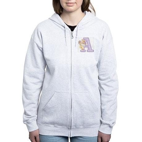 Teddy Alphabet A Purple Women's Zip Hoodie