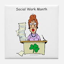 Social Work Month Desk Tile Coaster