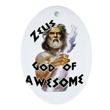 Zeus God of Awesome Ornament (Oval)