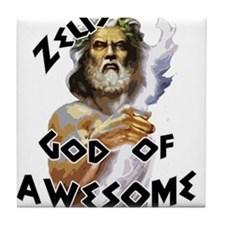 Zeus God of Awesome Tile Coaster